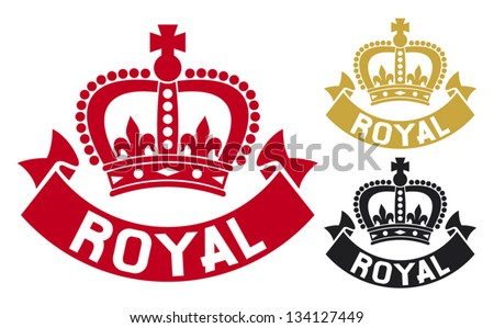 royal label (royal symbol, crown sign) - stock vector