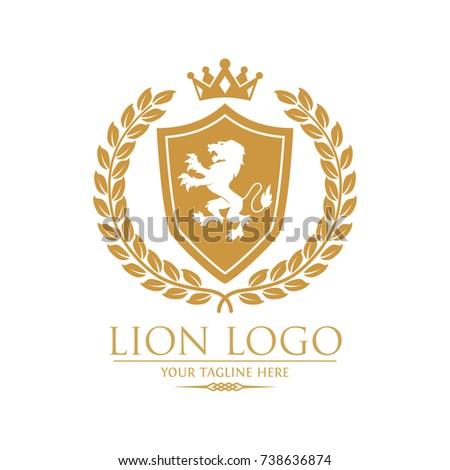 royal lion king crest logo laurel stock vector 738636874 shutterstock