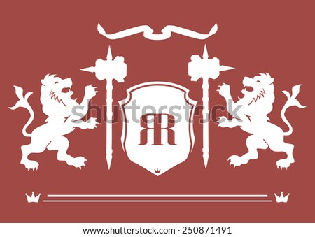 Royal lion, shield and hammer icons illustration isolated on red background creative art - stock vector