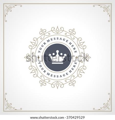 Royal Logo Design Template. Flourishes calligraphic elegant ornament lines. Luxury Logo, Crest Logo, Ornament Logo, Vintage logo, Vector Design, Logo Design, Premium Logo, Restaurant Logo, Crown Logo. - stock vector