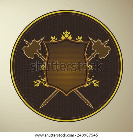 Royal logo or badge shield with two hammers design icon brown and yellow color style - stock vector