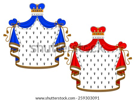 Royal mantle with king crown in red and blue variations for heraldic design - stock vector