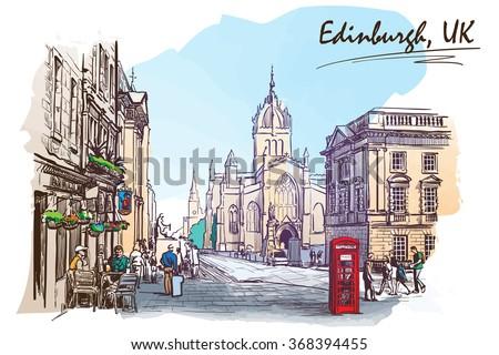 Royal Mile street panorama. Edinburgh, Scotland, the UK. Watercolor imitating painted sketch. EPS10 vector illustration. - stock vector