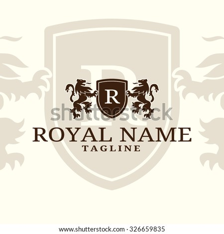 Royal name template - coat of arms with two lions and panel - stock vector