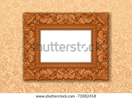 Royal Picture frame, carved wood. - stock vector