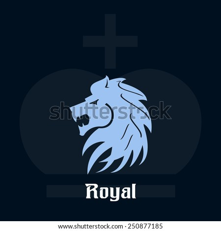 Royal poster with blue color lion head and crown on creative background - stock vector