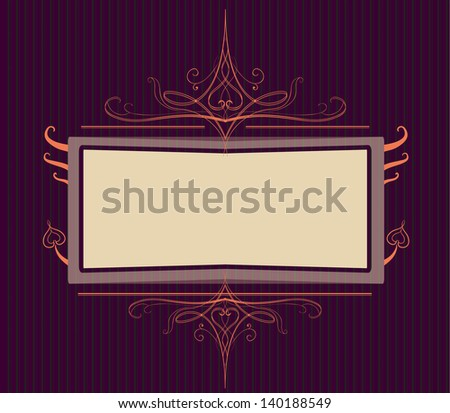Royal purple Ornate turn of the century frame. Easy to edit because of many named layers. - stock vector