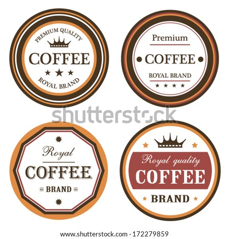 Royal quality brand coffee label set orange and brown style and concept design illustration - stock vector