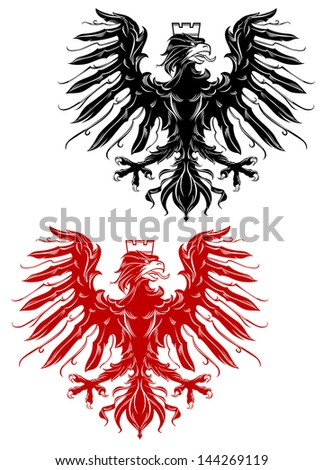 Royal red and black eagle for heraldry design or idea of logo. Jpeg version also available in gallery - stock vector