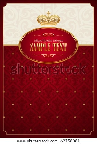 Royal red vector background with golden frame & crown - stock vector