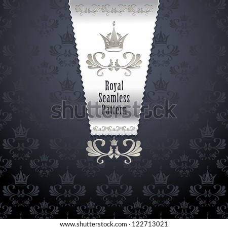 Royal seamless pattern with crown or Royal background - stock vector