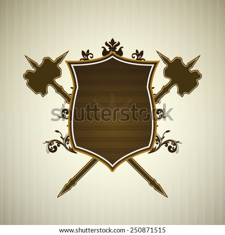 Royal shield logo with two hammer on background gold and brown color concept retro icon - stock vector