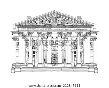 Royal Stock exchange, sketch collection - stock vector