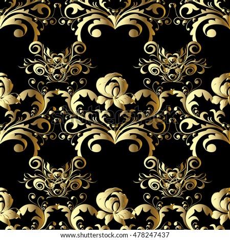 Royal Stylish Black Baroque Floral Vector Seamless Pattern Wallpaper Illustration Background With Vintage Decorative Elegant Gold