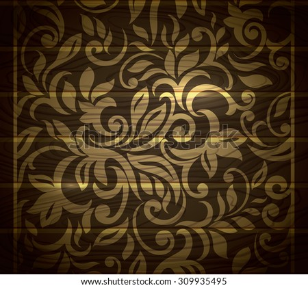 Royal Vintage golden pattern  in wood textured vector background - stock vector