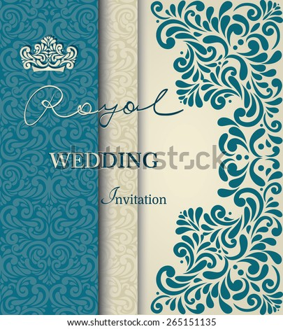 Royal wedding invitation, vintage lace border, in blue - stock vector