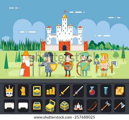 RPG Adventure  Mobile Tablet PC Web Game Screen Concept Mage Knight Archer Bard Barbarian Warrior Characters Flat Design Castle Cartoon Magic Fairy Tail Icon Landscape Background Template Vector - stock vector