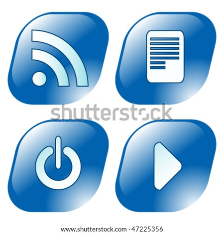 RSS blue icons set - stock vector