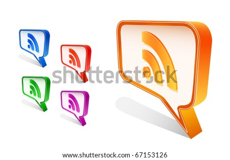 rss chat icon set isolated on white background. Vector illustration. - stock vector