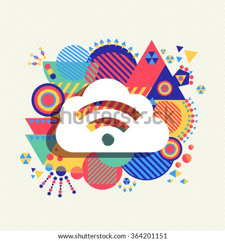 RSS feed cloud computing icon poster design with colorful vibrant geometry shapes background. Social media concept. EPS10 vector. - stock vector