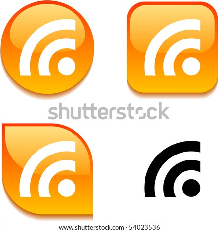 Rss glossy vibrant web buttons. - stock vector