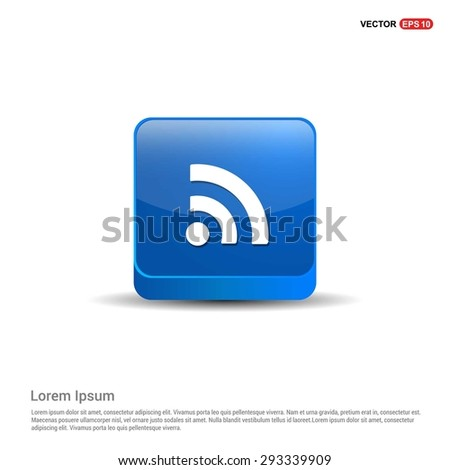 RSS icon - abstract logo type icon - blue 3d button background. Vector illustration - stock vector