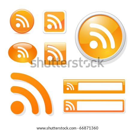 rss icons in different styles on white - stock vector