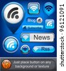 Rss web blue buttons for website or app. Vector eps10. - stock photo