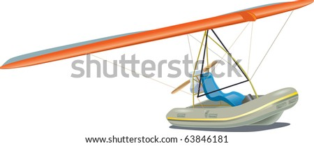 Rubber boat combined with a hang-glider and the engine with a propeller - stock vector