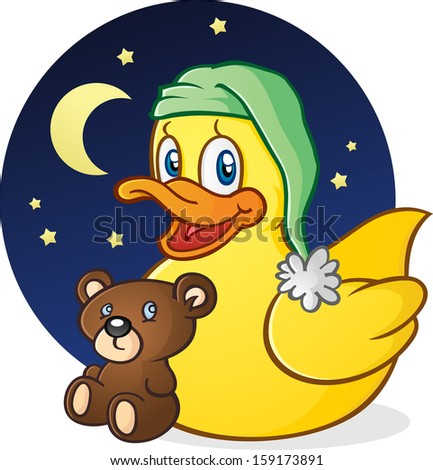 Rubber Duck Nap Time Cartoon Character - stock vector