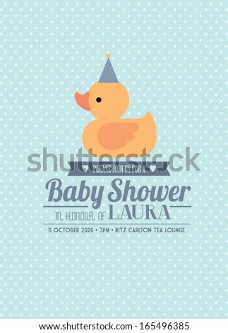 rubber ducky baby shower invitation card template boy vector/illustration - stock vector