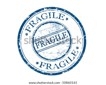 rubber grunge stamp with the word fragile  - more available - stock vector