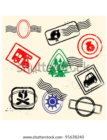 Rubber Stamp Collection Set              vector eps10 - stock vector