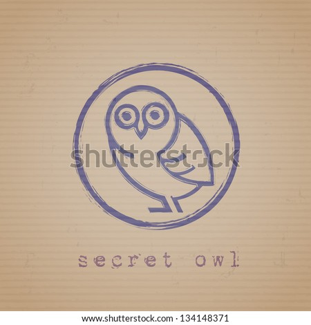 Rubber stamp of owl on cardboard. Vector EPS10 - stock vector