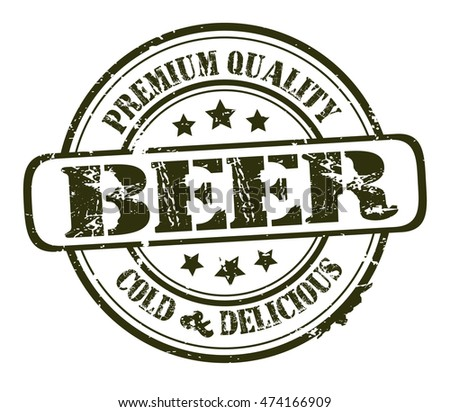 "rubber stamp with text ""beer, premium quality"" on white, vector illustration"