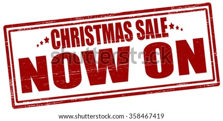 Rubber stamp with text Christmas sale now on inside, vector illustration - stock vector