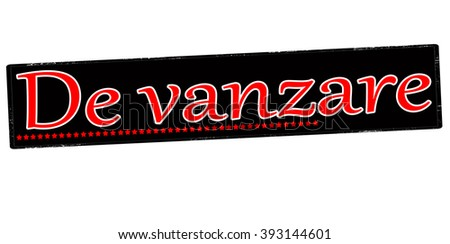 Rubber stamp with text for sale in Romanian language inside, vector illustration