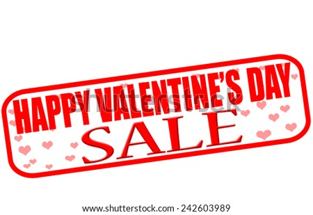 Rubber stamp with text happy Valentine day sale inside, vector illustration - stock vector