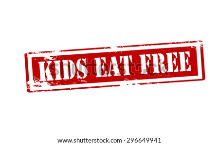 Rubber stamp with text kids eat free inside, vector illustration