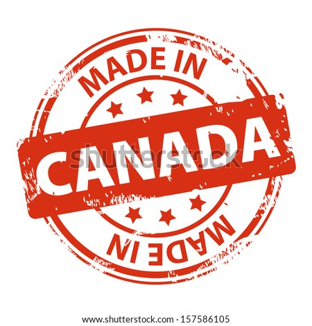 Rubber stamp with text Made in Canada icon isolated on white background. Vector illustration - stock vector