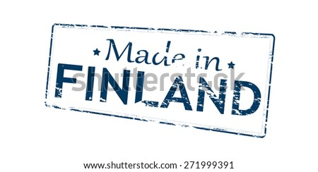 Rubber stamp with text made in Finland inside, vector illustration