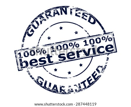 Rubber stamp with text one hundred percent best service inside, vector illustration