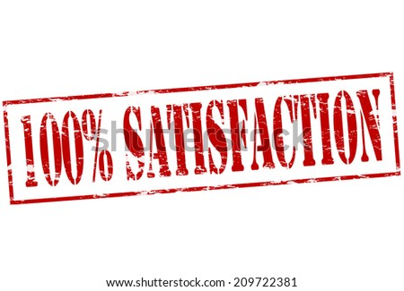 Rubber stamp with text one hundred percent satisfaction inside, vector illustration