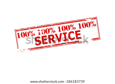 Rubber stamp with text one hundred percent service inside, vector illustration