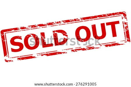 Rubber stamp with text sold out inside, vector illustration - stock vector