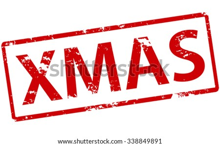 Rubber stamp with word Xmas inside, vector illustration