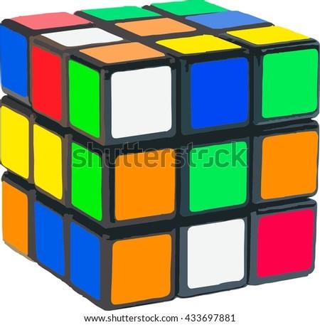 Rubik's Cube vector - stock vector