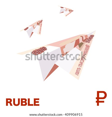 Ruble airplane. Banknote ruble. Paper banknote.  - stock vector