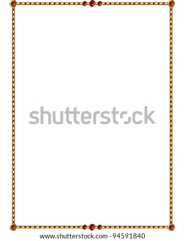 Ruby and Gold vector Border - stock vector