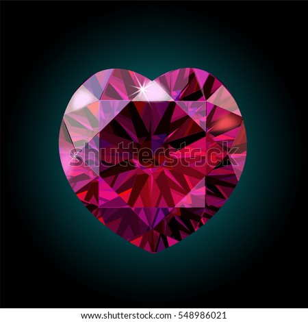 Ruby heart shape for Valentine s Day. red crystal. Vector illustration. Bright shining sparkling rich luxy luxiry gem gemstone precious deep scarlet crimson purple burgundy jewelry love romantic gift